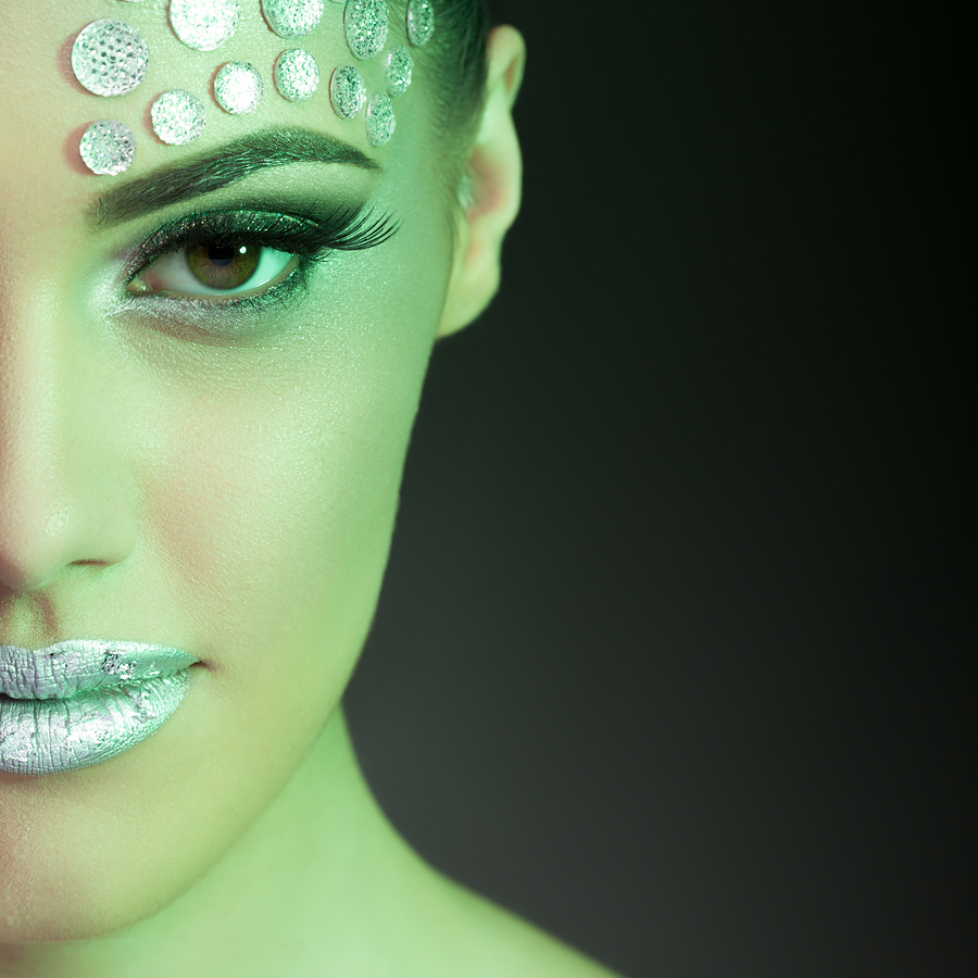Beauty Woman Fashion Make Up With Color Gels